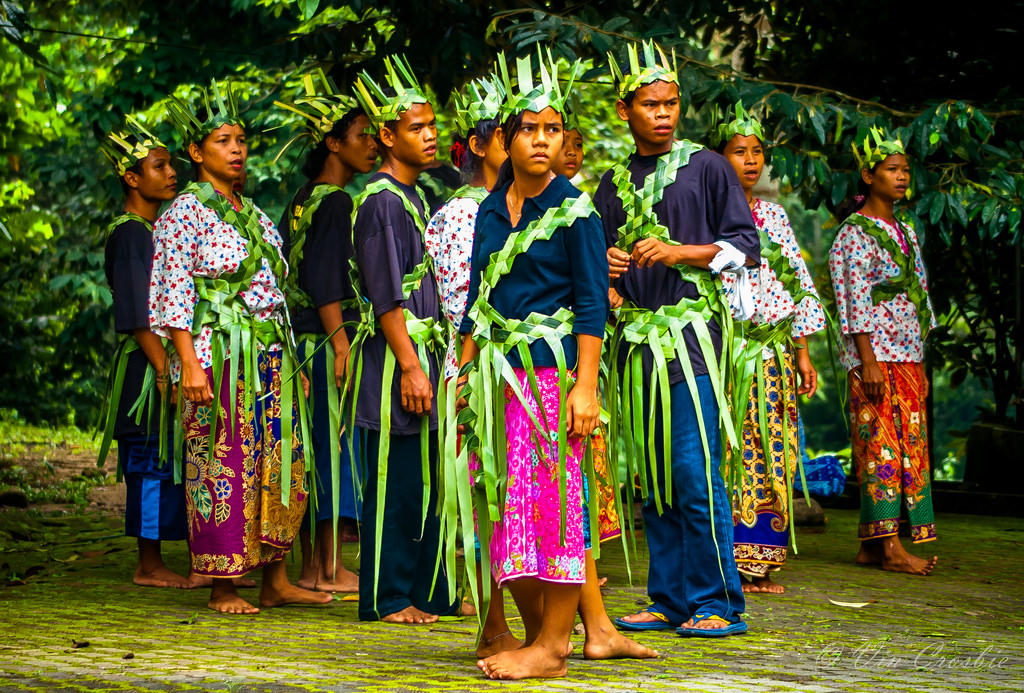 Malay Aboriginals, green woven clothing and crowns