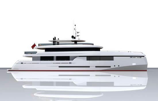 white with black windows yacht rendering