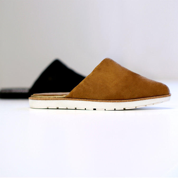 brown and black mushroom leather slippers