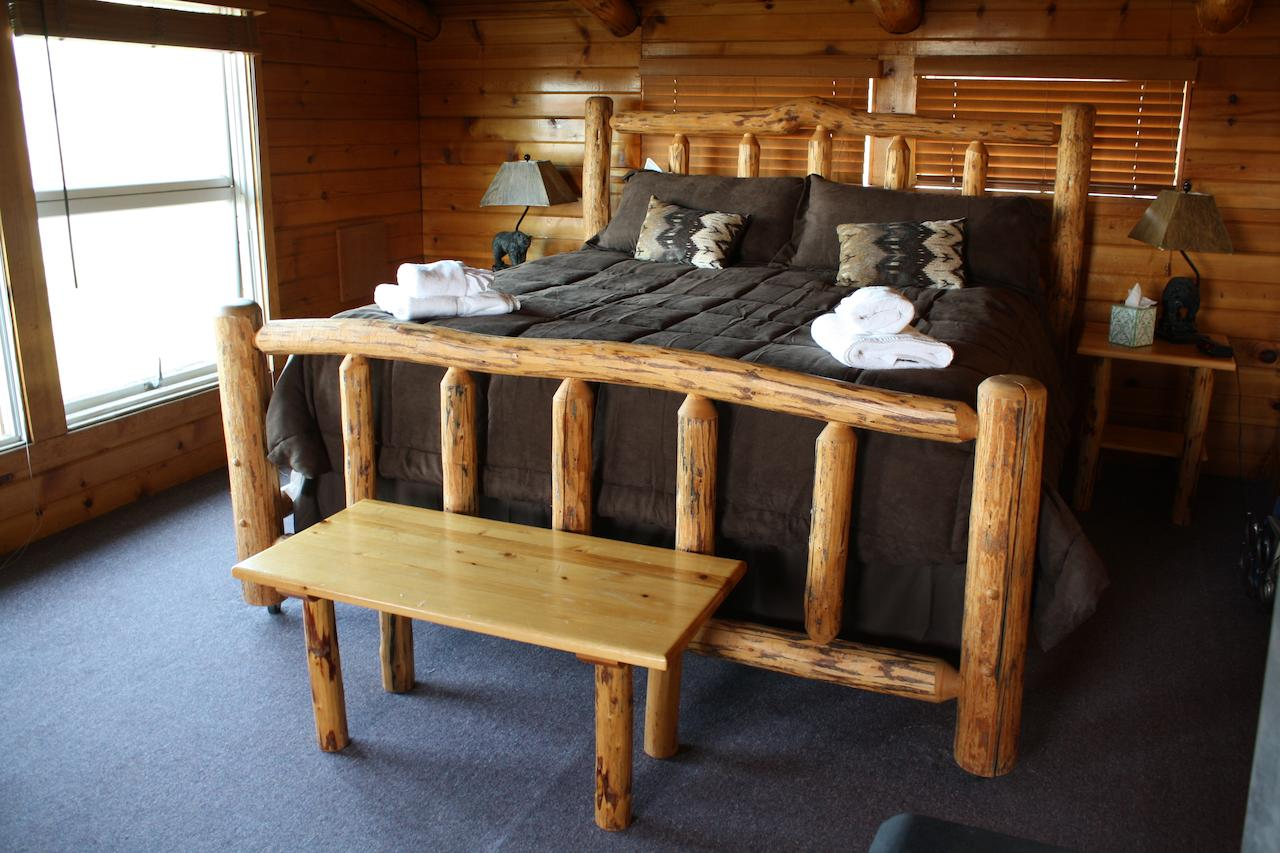 bed made from wood, rustic decorations