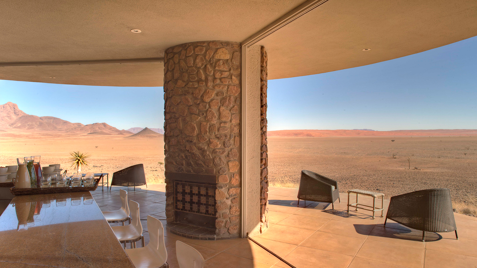 sitting area looking out over desert