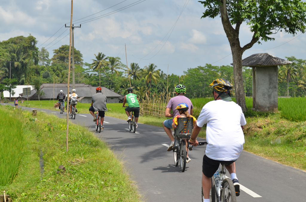 people on bikes, Bali