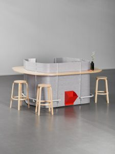 standalone bar with wooden stools