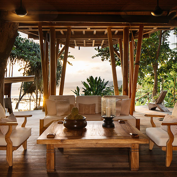 tropical wooden room interior