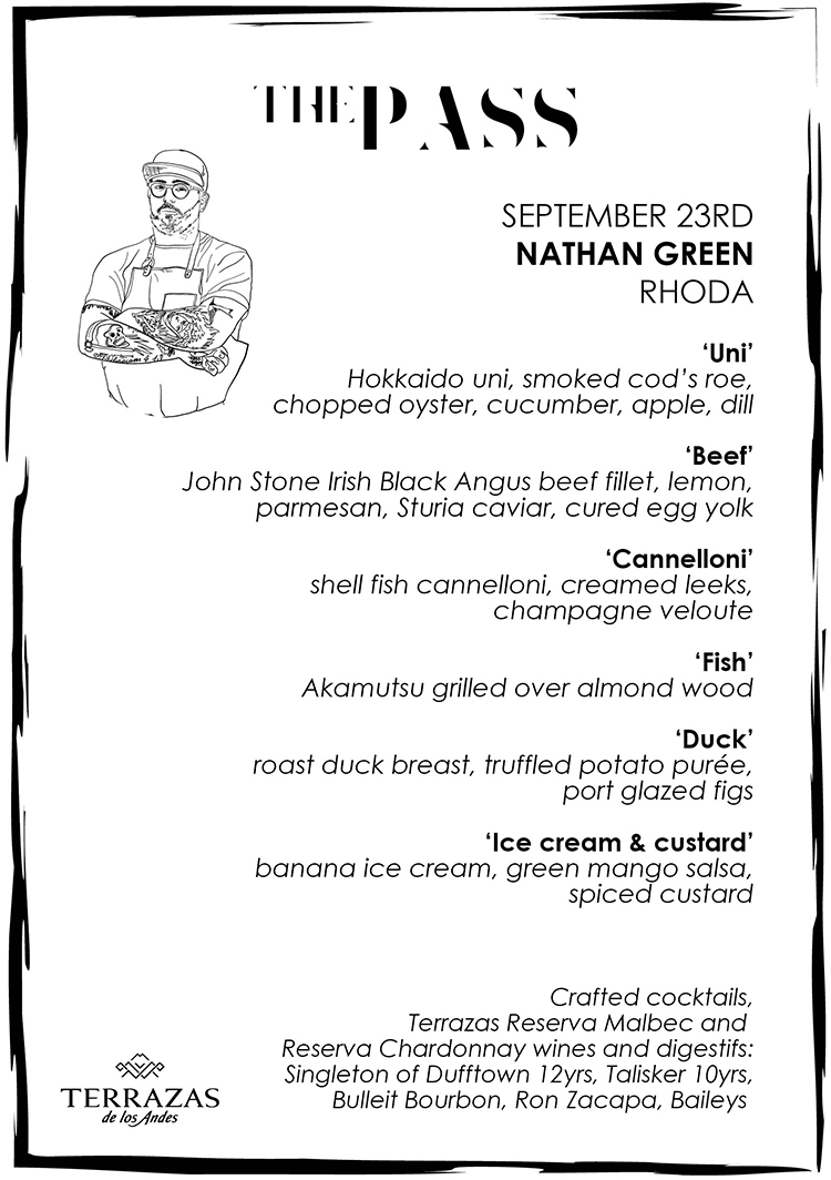 black and white menu with illustration of chef