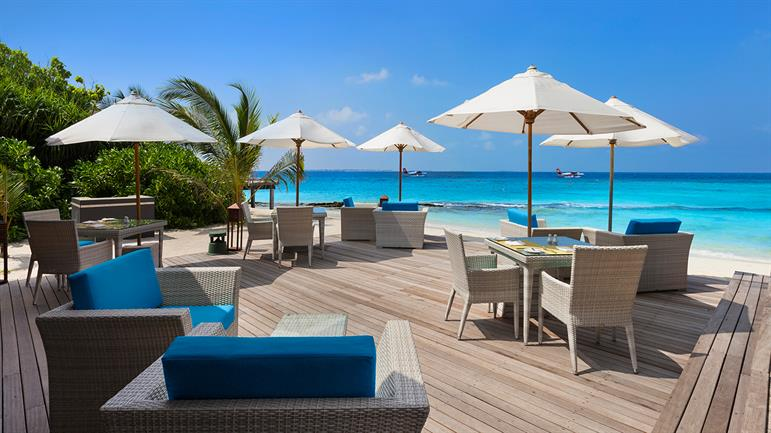 wooden deck, beach umbrella, seats