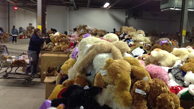 many large boxes of stuffed toys and teddies