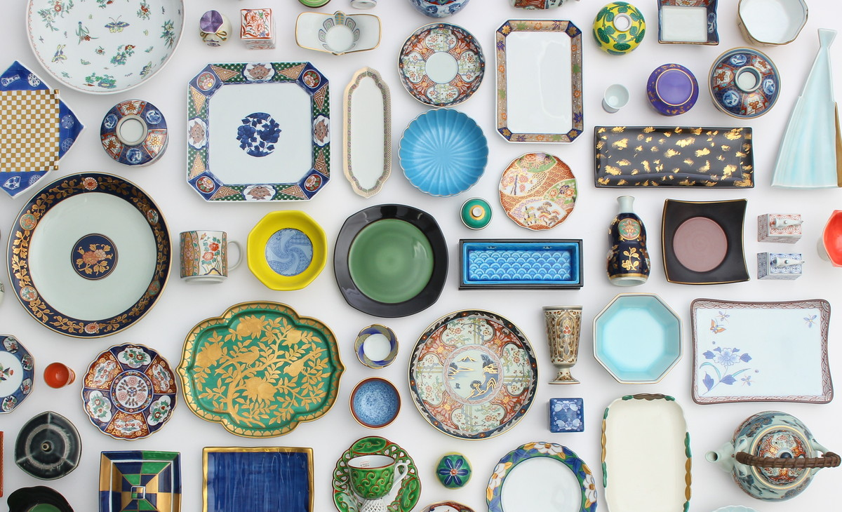 an array of dishes, top view
