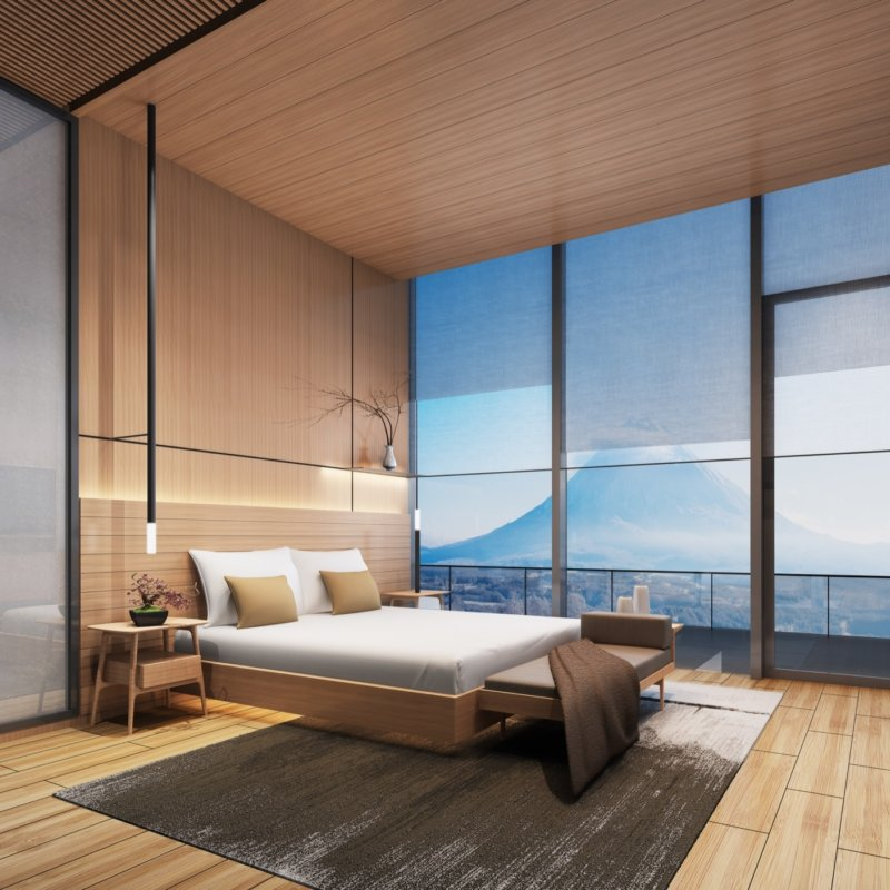 master bedroom, window and mountain