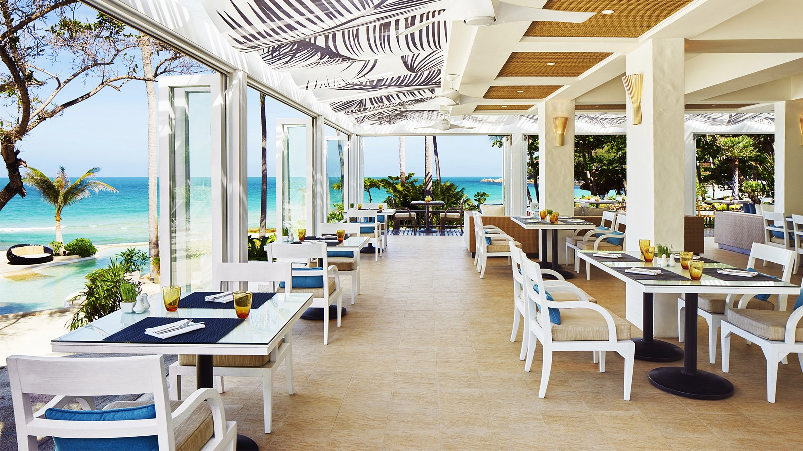 interior of restaurant with ocean in background
