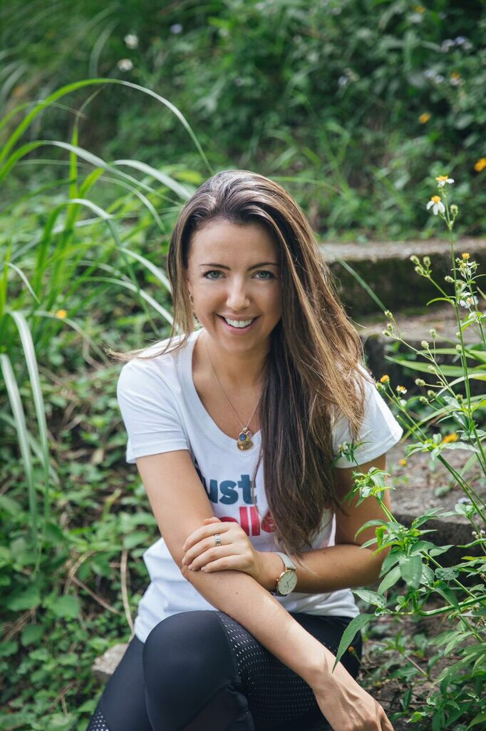 "Lucy Bennett-Baggs in white ""just Challenge"" t-shirt"