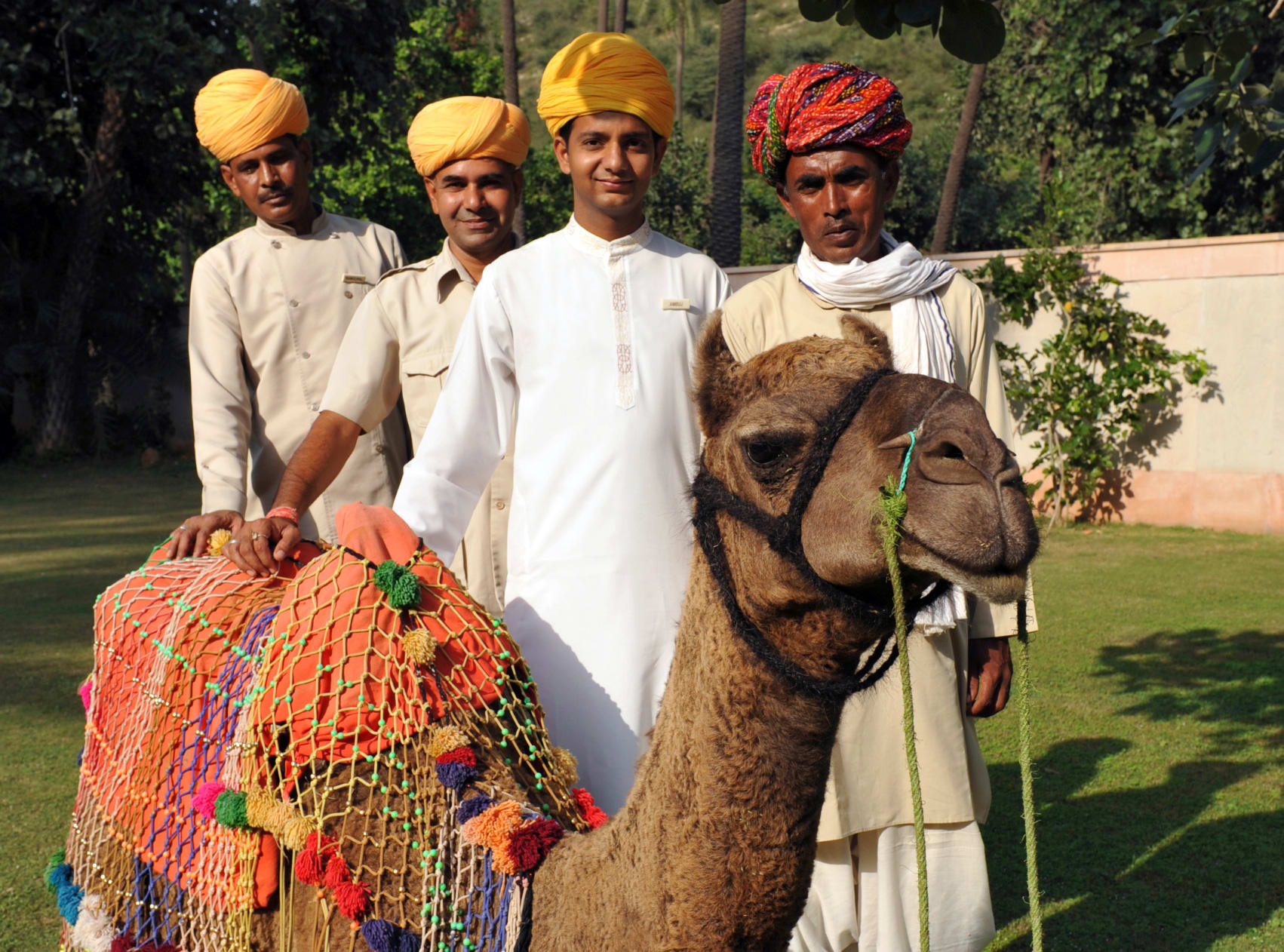 four men with turbans, sitting camel