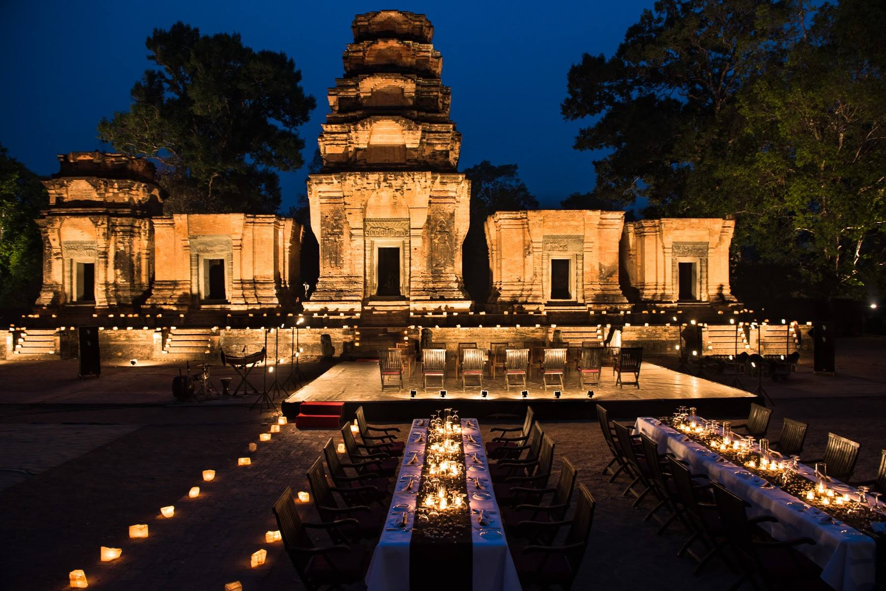 Cambodian temple at night