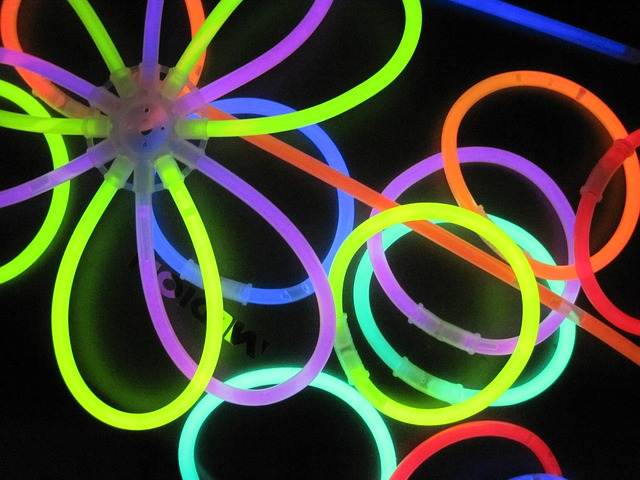 colourful glow stick bracelets and flowers