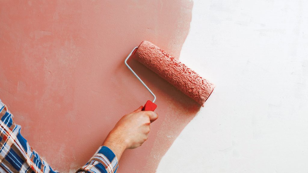 person rolling pink paint on wall