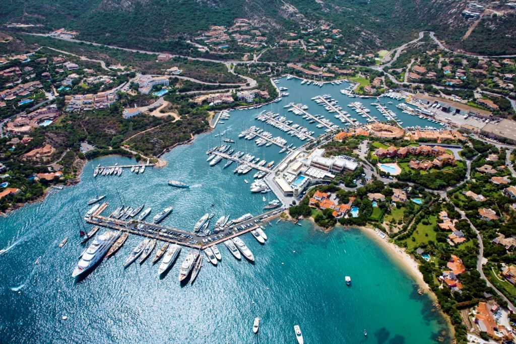 Costa Smeralda Coast with turquoise waters and yachts