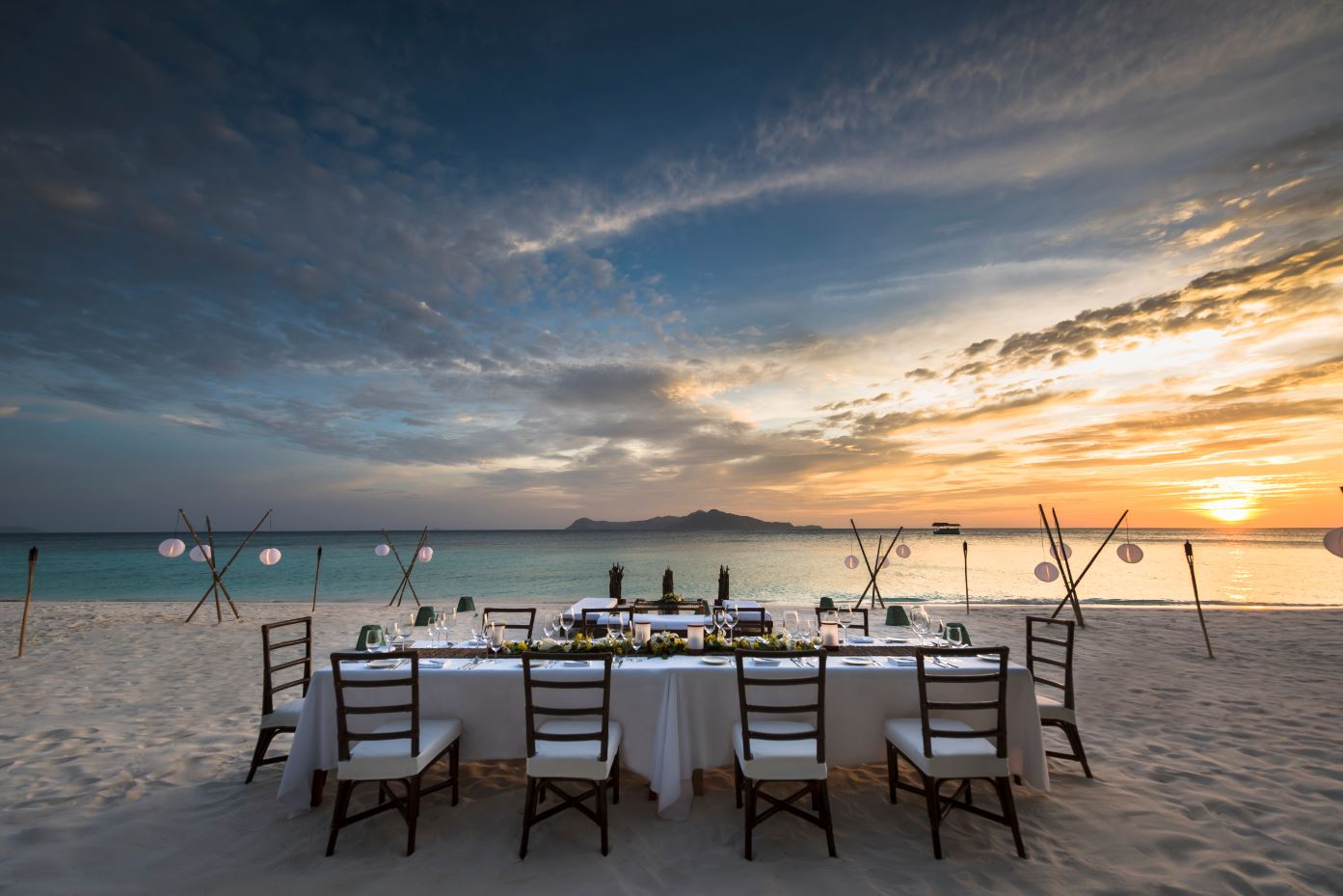 beach dining at sunset