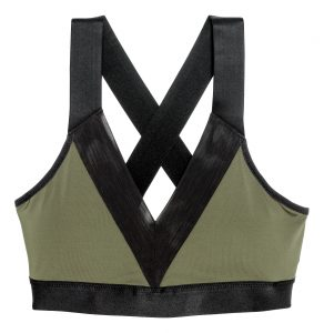 khaki and black sports bra with crossed back straps
