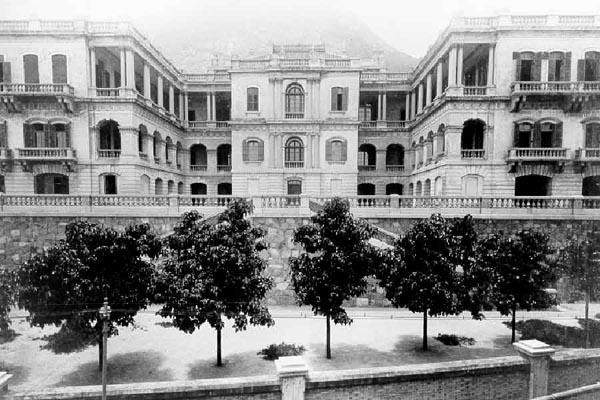 Queen's College black and white photo, Hong Kong