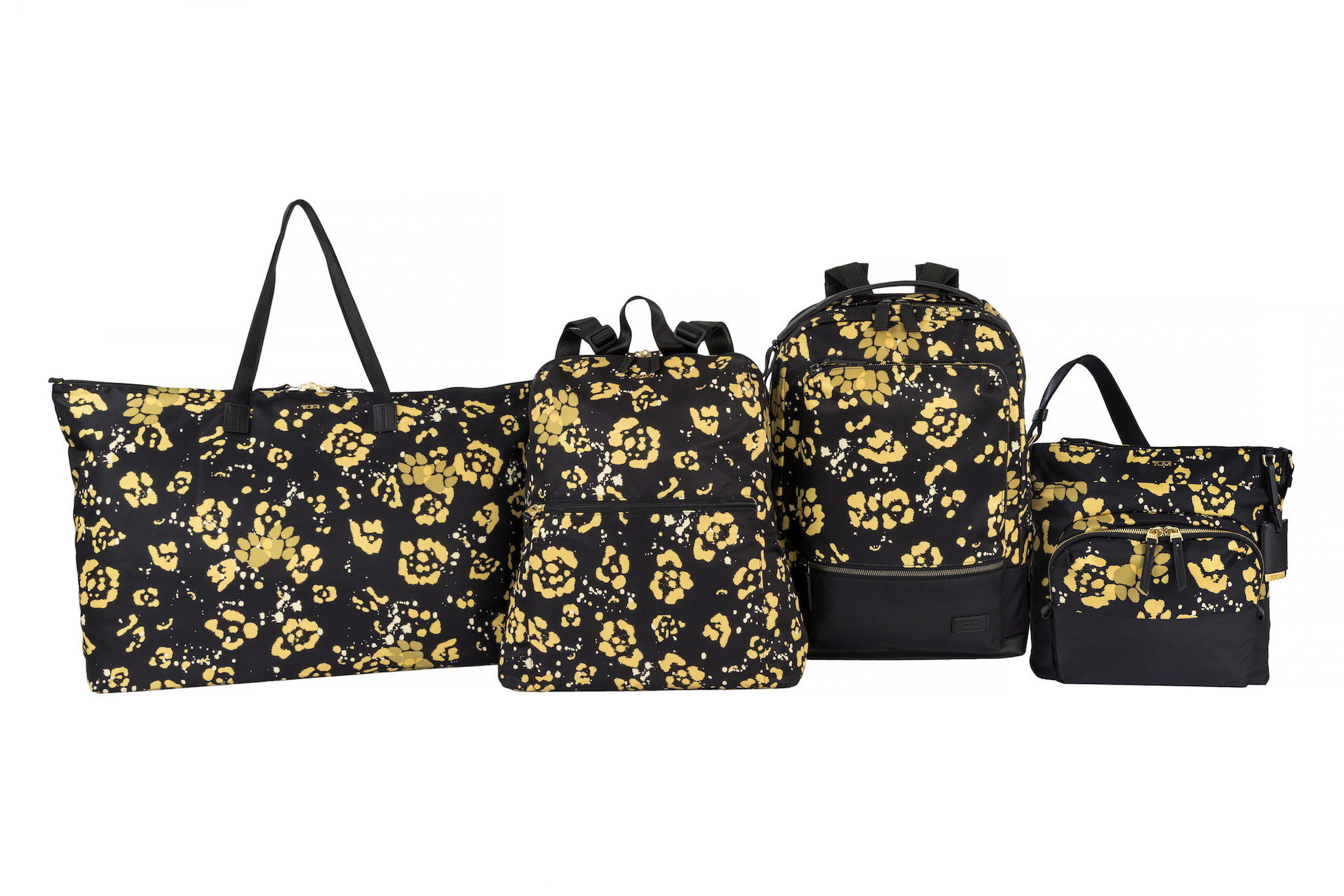 black and gold travel bags