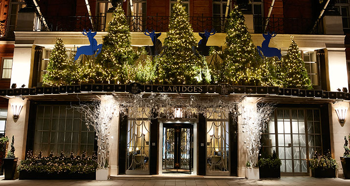 front of Claridges Hotel, bedecked with Christmas decorations