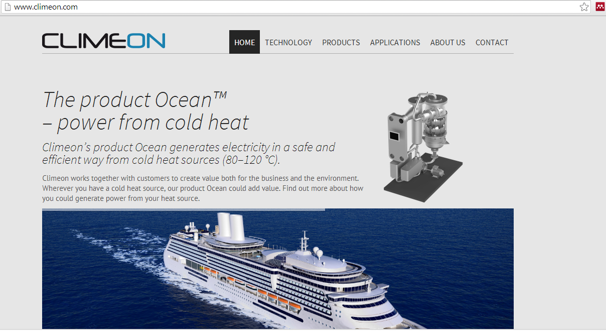 web page with cruise ship and clean energy system description