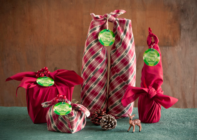 cloth wrapped presents