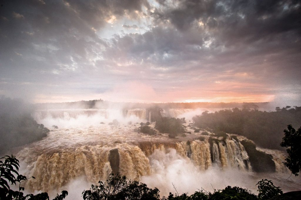 Iguazú Falls at sunset