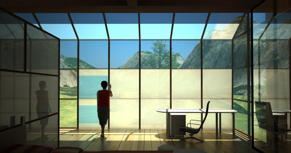 person standing next to large windows