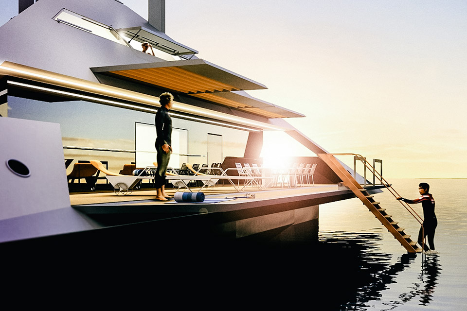 artist rendering of people standing on yacht deck