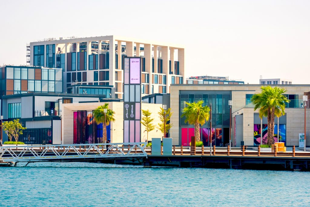 colourful blocky hotel on waterfront