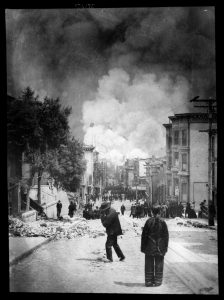 black and white photo, smoke in air