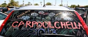 carpoolchella written on car window