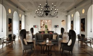 tables and chairs, chandelier