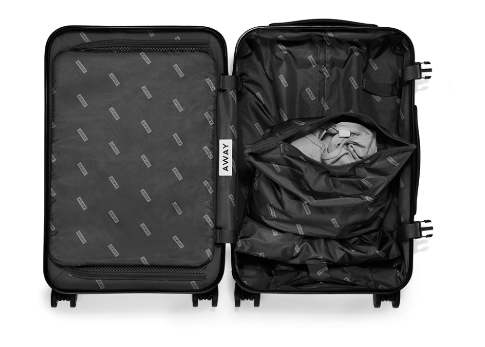 black carry on suitcase, opened