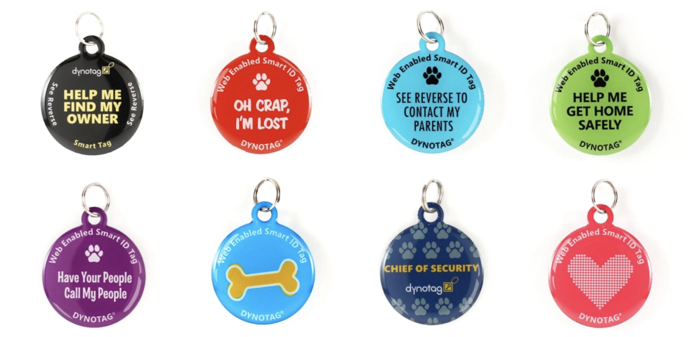 colourful round dog tags