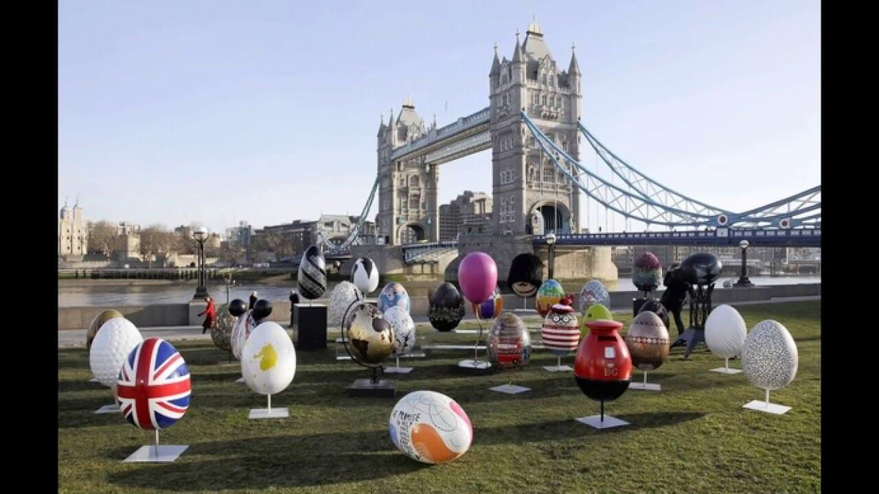 coloured Easter eggs, London Tower Bridge