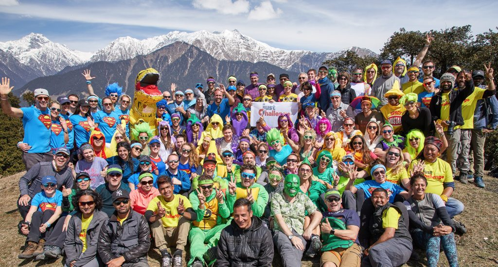 Group of people in the mountains for Just Challenge, in costume