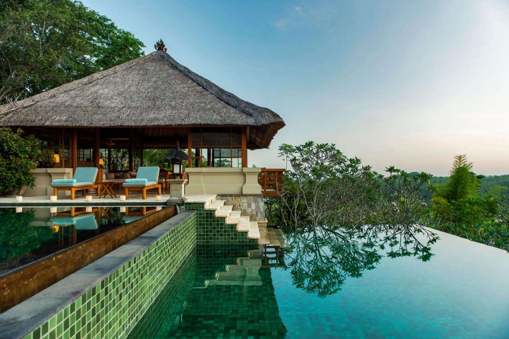 thatched hut, infinity pool overlooking greenery