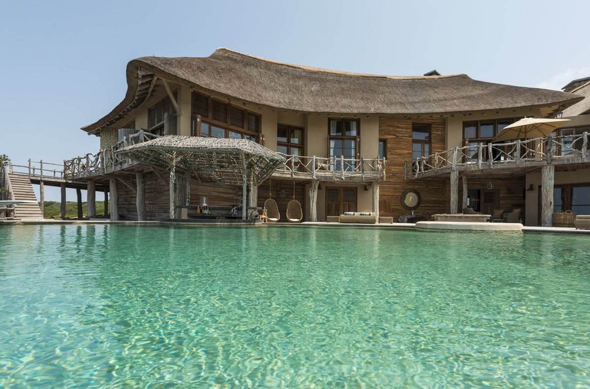 large private pool, wood and stone villa